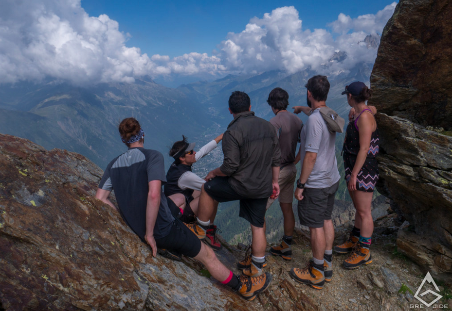 Hikers on Mont Blanc Trail